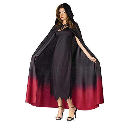Red Cape with Stand Up Collar - Halloween Costume Accessory - Unisex Polyester Vampire Cape - Ties Around Neck