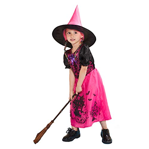 Colorful Child Witch Costumes - ReneeCho Girl's Witch Dress Costume, Rose