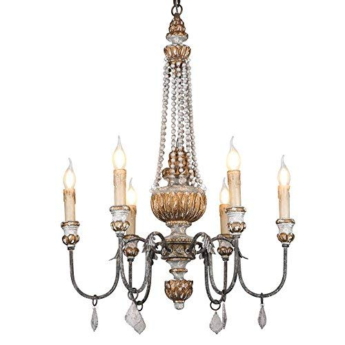 (KunMai Retro Rustic 6-Light Sculpted Wood Rust Metal Clear Crystal Candle Style Chandelier)