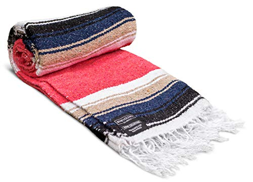 Mexican Blanket - Artisan Thick Premium Diamond Mexican Yoga Blanket Camping Blanket Authentic Handwoven Mexican Blankets and Throws Woven Blanket for Bed, Couch, Beach, Picnic, Travel, Hiking