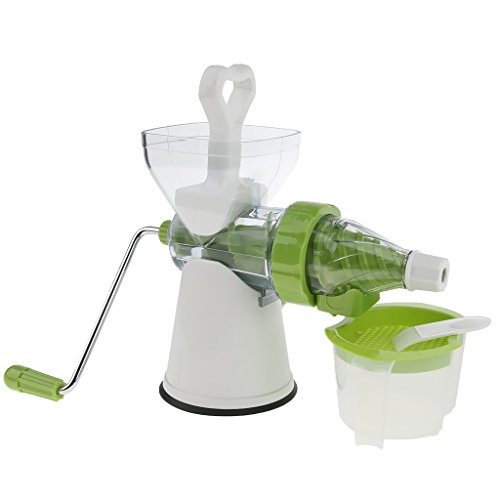 Baoblaze Handle Juicer Juice Extractor Cold Press Wheatgrass Carrot Icecream Blender, strong suction base and table clam, White