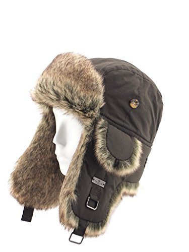 FUR WINTER Taslon Faux Fur Aviator Bomber Trapper Hat BRN S/M
