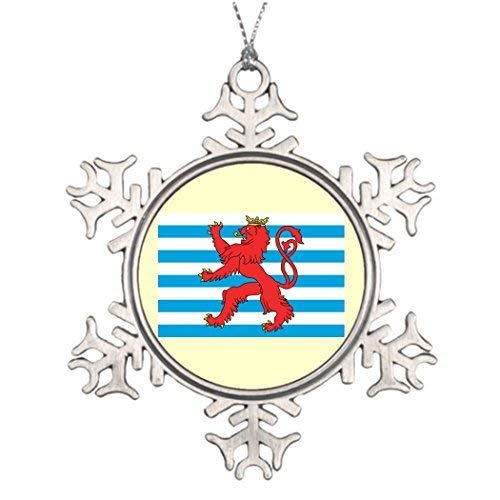 hiusan Civil Ensign Luxembourg Luxembourg Christmas Tree Ornaments Pewter Snowflake Christmas Ornaments for Indoor Christmas Decorations (Luxembourg Christmas)