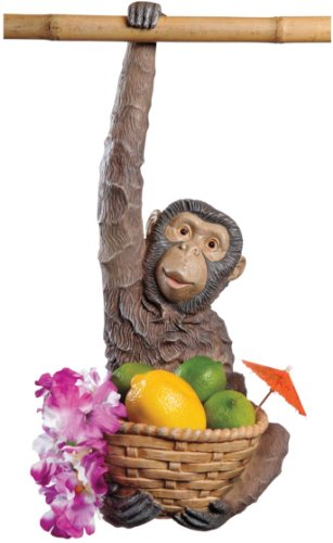18'' Tropical Animal Monkey Sculpture Statue Fruit Basket by XoticBrands