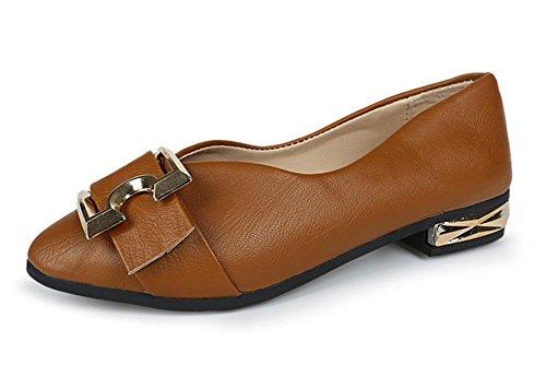 Gürtelschnalle Schuhe mit dicken Absatzschuhen im Frühjahr und Herbst Frauen sondern Schuhe Freizeitschuhe Schuhe Brown