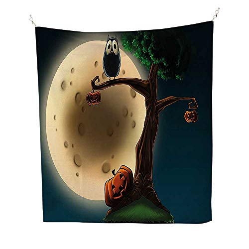 Decor Tapestry Wall Hanging 60W x 80L INCH Home Decoration Wall Tapestry Hanging Halloween Decorations Cute Cartoon Spooky Halloween Tree Large Eyed Owl Pumpkin Decor Picture Multi. for $<!--$56.99-->