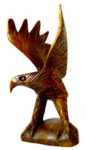 Hand Carved Powerful American Bald Eagle Wooden Sculpture Freedom ()