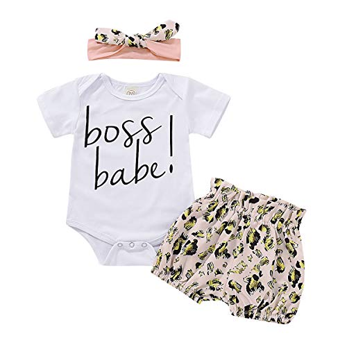 Infant Girl Clothes Baby Girl Outfits Cute Boss Babe Letter Short Sleeve White Rompers Jumpsuit + Elastic Leopard Shorts Pant Set + Bow Knot Headband Bodysuit 12-18 Months