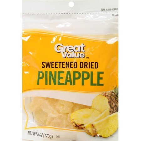 Great Value Sweetened Dried Pineapple, 6 oz, pack of 6