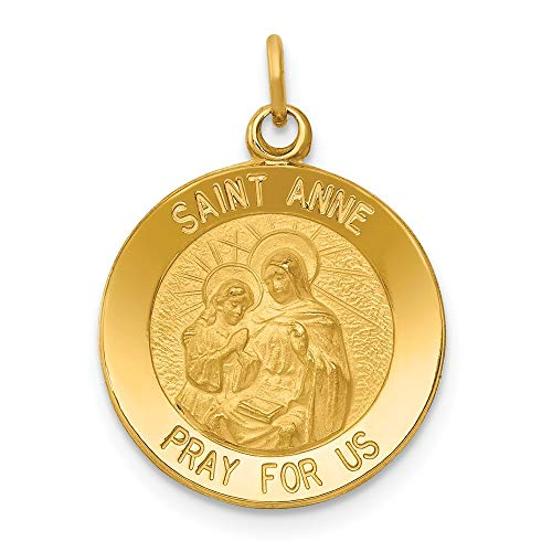 (Solid 14k Yellow Gold Saint Anne Medal Pendant Charm (15mm x 23mm) )