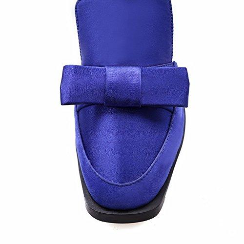 AalarDom Sólido Sandalia Mujeres Cerrada Cuero Azul ancho Vaca Hebilla Tacón Puntera De rrnzagvqp