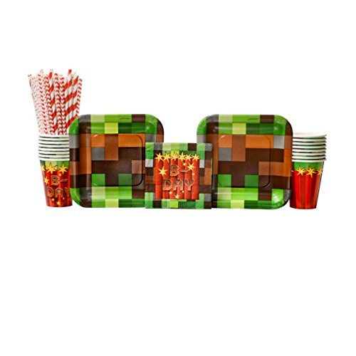 TNT Pixel Mine Party Pack for 16 Guests: Straws, Dessert Plates, Beverage Napkins, and Cups ()