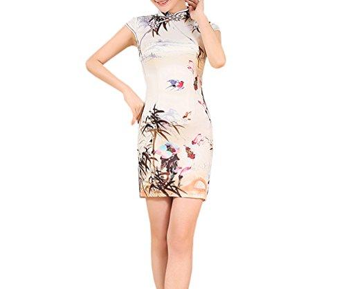 Luck Femme Cheongsam Qipao Courte Elégant Rétro Motif Fleur en Polyester