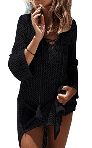 - Wander Agio Beach Swimsuit for Women Sleeve Coverups Bikini Cover Up Net Black