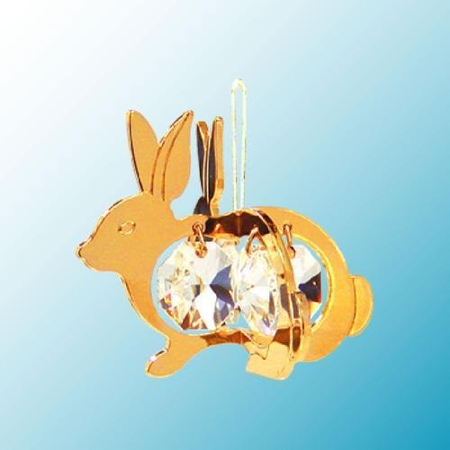 24K Gold Plated Hanging Sun Catcher or Ornament..... Rabbit with Clear Swarovski Austrian Crystal ()