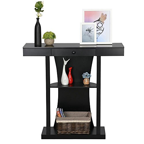 Yaheetech 3 Tier Console Tables for Entryway Table with Storage Shelf & Centre Drawers Black