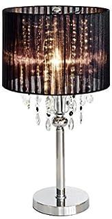 Spencer Crystal Bedside Table Lamp, Glass, Black