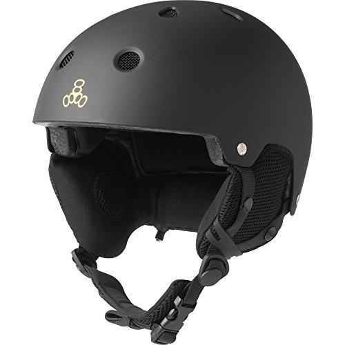 Triple Eight Snow Helmet with Audio, Black Rubber, Small/Medium