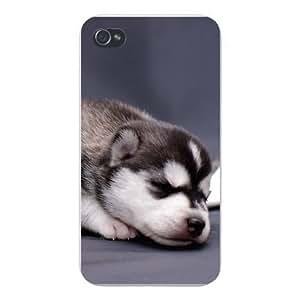Apple Iphone Custom Case 5 / 5s White Plastic Snap on - Cute Husky Puppy Dog Sleeping Adorable