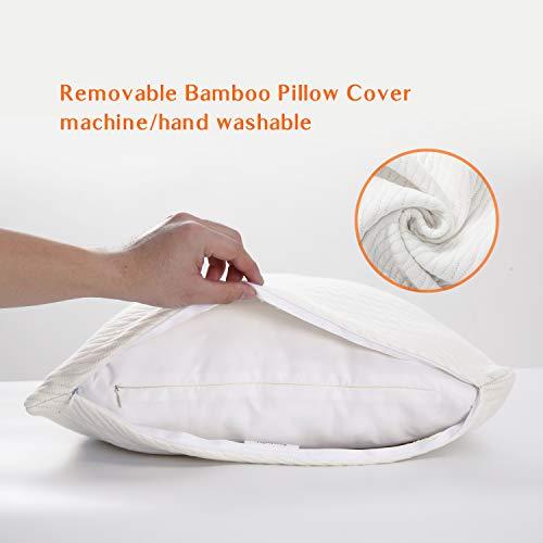 Sweetnight King Size Pillows-Bamboo Pillows for Sleeping-Shredded Memory Foam Pillow Suit for All Position Sleeper -CertiPUR-US Certification, White (SWN-P002-K)