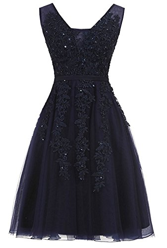 Short Evening Prom Gowns Dresses Neck Homecoming Gowns Navy Tulle Cdress Cocktail Applique V 5xBWpwn