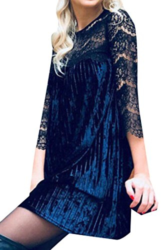 4 Women Lace BLTR Size 3 Pleated Blue Sleeve Plus Dress Mini Velvet 16Igq4nwgx