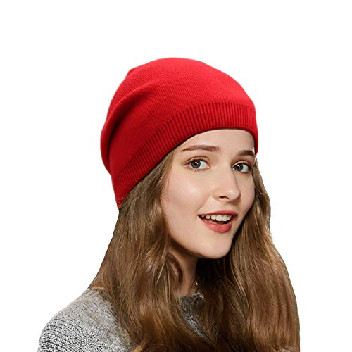(Wheebo Beanie Hat Cashmere Stretch Skull Ski Cap for Women Men -Winter Knit Hat Solid Color Unisex Style (Red))