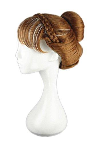 Anna Wig Adult (Anna Wig Cosplay Hair Princess Flaxen Bun Hair Party Costume Halloween Wig Honor)