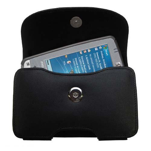 Gomadic Brand Horizontal Black Leather Carrying Case for the HP iPAQ hx2415 hx2410 with Integrated Belt Loop and Optional Belt Clip