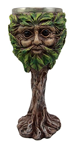 Atlantic Collectibles Whimsical Forest Spirit Greenman Deity Wine Goblet Chalice Cup Figurine 6oz (Greenman Goblet)