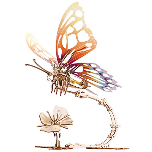 Butterfly 3D Mechanical Model Self-Assembling, Wooden Miniature, DIY Set, Wooden Box, Brainteaser