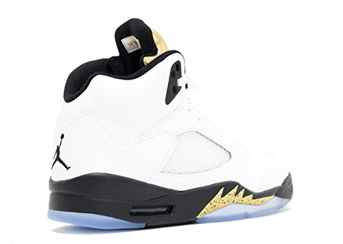 Nike Air Jordan 5 Retro, Scarpe da Fitness Uomo White, Black-metallic Gold Coin