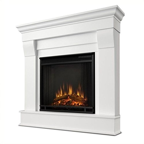 Traditional Gel Fuel Fireplace - Real Flame 5950E Chateau Corner Electric Fireplace, Small, White
