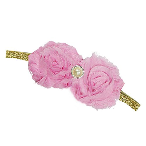 (Kirei Sui Baby Crystal Flowers Gold Sparkle Headband Light Pink)