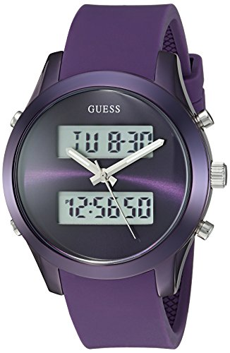 GUESS Women's U0894L5 Trendy Stainless Steel Multi-Function Watch with Digital Dial and Silicone Strap Buckle