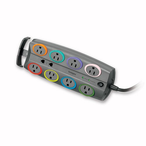Kensington 62688 SmartSockets Basic Adapter 8-Outlet Color-Coded Power Strip and Surge Protector