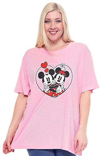 Disney Plus Size Women's T-Shirt Minnie & Mickey Mouse Graphic Print (Pink, 3X) -