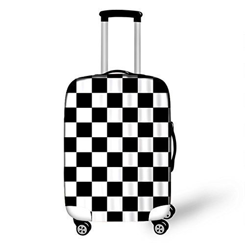White Checkers Protector Case - FESFASHION Cute Luggage Cover Checkerboard Suitcases Cover Protector Fit 18/20/22/24/26/28 Inch Luggage