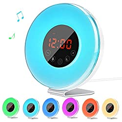 LED Alarm Clock Radio for Kids , Lorretta Wake Up Sunrise Simulator Touch Control Digital Light Alarm Clock with 6 Nature Sounds, 7 Color Light and FM Radio, White