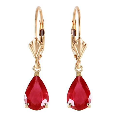 3.5 CTW 14k Solid Gold Leverback Earrings with Natural Pear-shaped ()