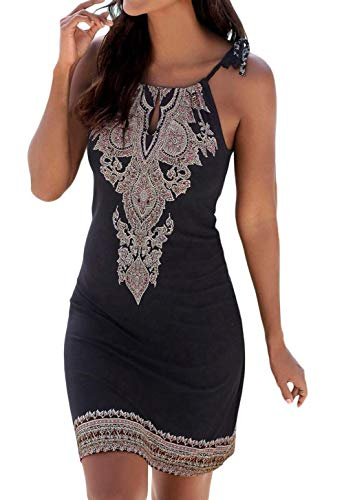 Womens Sleeveless Halter Neck Vintage Mini Dress Printed Spaghetti Strap Petite Fashion Beach Dress S