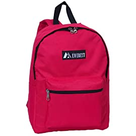 "Everest Luggage Basic Backpack 4 Dimensions 11"" x 5"" x 15"" (LxWxH) A mid-size backpack in a modern, streamlined silhouette ideal for school, work, travel and everyday use Spacious main compartment with double zipper closure"