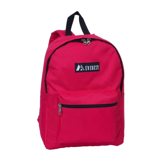 """Everest Luggage Basic Backpack 1 Dimensions 11"""" x 5"""" x 15"""" (LxWxH) A mid-size backpack in a modern, streamlined silhouette ideal for school, work, travel and everyday use Spacious main compartment with double zipper closure"""