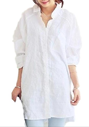 (ten is heart) Long Shirt Women Loose Size Tunic Blouse Long Sleeve Relax Simple(Extra Large, ()