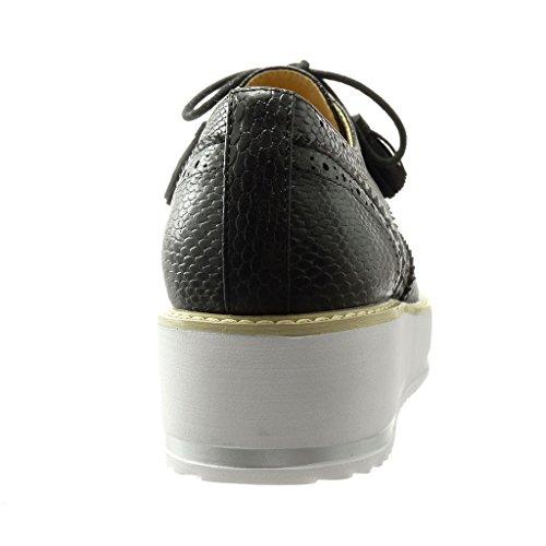 Angkorly Coutures 4 Femme 5 Chaussure Mode Basse Plateforme Perforée De Finition Derbies Surpiqûres Peau Compensé Noir Serpent Talon Cm qx4PrySqwA
