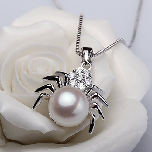 DIY accessories silver rhodium-plated spider models necklace pendant bread round natural pearl necklace pendant sterling silver mountings ()