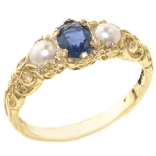 LetsBuyGold 10k Yellow Gold Real Genuine Sapphire & Cultured Pearl Womens Promise Ring - Size 9