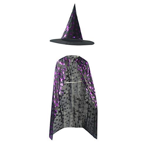 BYSTE Costume ragno amp; Costume magico Mago zucca Nero cappello Halloween Viola Strega mantellina Bambino Robe Wizard stella Mantello Stampa viola Bambina femminile scialle nqq4PUwr
