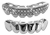 platinum diamond grillz - Hip Hop Lower Teeth Silver Platinum Mouth Grillz Set (Bottom) 2 pc Set