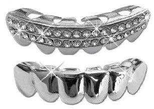 Hip Hop Lower Teeth Silver Platinum Mouth Grillz Set (Bottom) 2 pc Set Best Grillz 1405